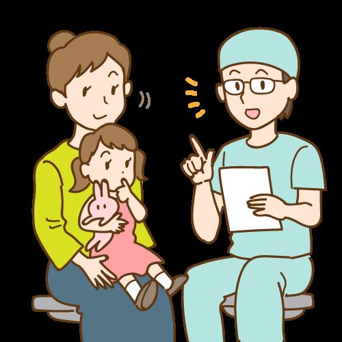 歯科医師の説明を聞く親子|イラストNo.2086【歯科素材.com】 (8492)