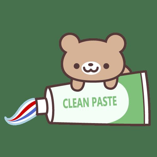ミニっ子どうぶつ(くま)歯磨き粉ver. イラストNo.1409【歯科素材.com】 (9480)