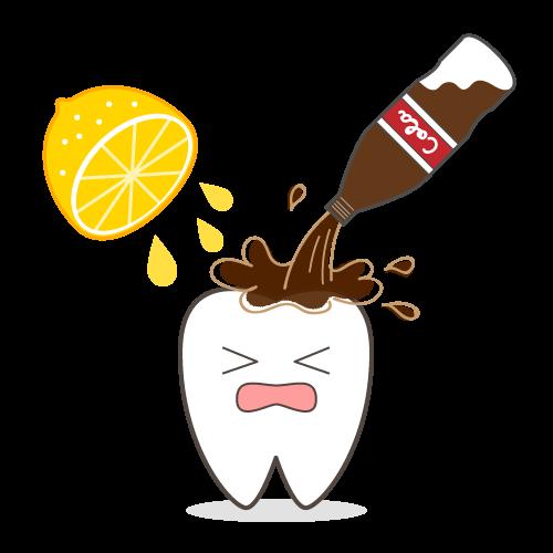 コーラとレモン汁を浴びる歯のキャラクター|イラストNo.2032【歯科素材.com】 (9485)