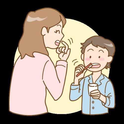 母親に歯磨き指導を受ける男児|イラストNo.1640【歯科素材.com】 (9487)