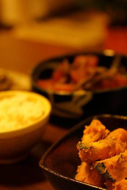 かぼちゃの煮物とご飯|フリー写真素材・無料ダウンロード-ぱくたそ (9715)