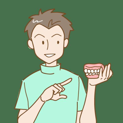 総入れ歯を持つ男性の技工士|イラストNo.2072【歯科素材.com】 (11553)
