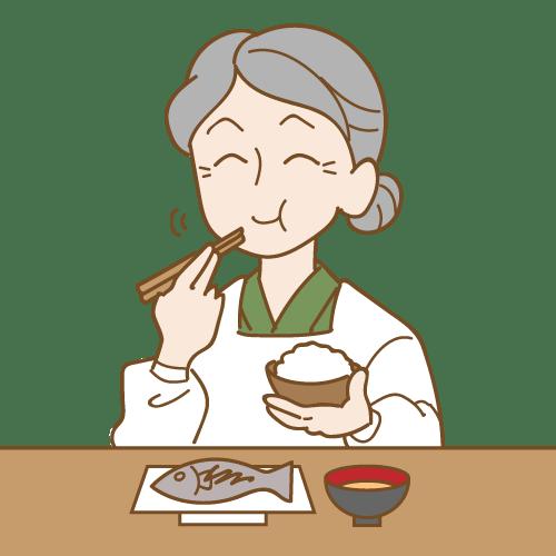 ごはんを食べるおばあちゃん|イラストNo.2064【歯科素材.com】 (11555)