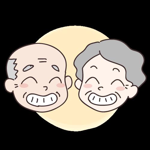 健康な歯で笑う老夫婦|イラストNo.1356【歯科素材.com】 (11557)