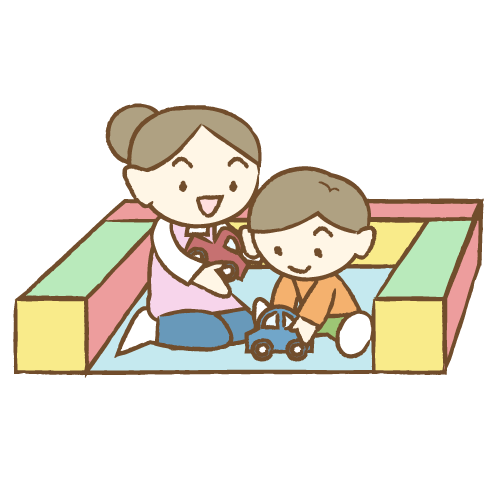 キッズルームで遊ぶ子供と保育士|イラストNo.1825【歯科素材.com】 (11828)
