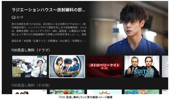 フジテレビの最新ドラマ・バラエティが無料で見られるサービス「FOD見逃し無料」がテレビで視聴可能に!