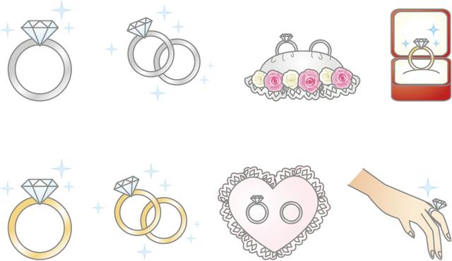 [フリーイラスト] 8種類の結婚指輪のセットでアハ体験 -  GAHAG | 著作権フリー写真・イラスト素材集 (4450)