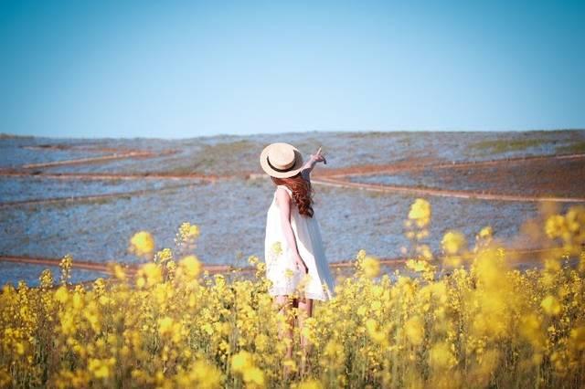 菜の花畑で空を指差すとってもポジティブな女の子のフリー写真画像|GIRLY DROP (10437)