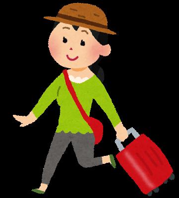 トランクを持って旅行をしている女性のイラスト | かわいいフリー素材集 いらすとや (10537)