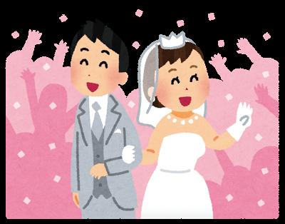 祝福されている新郎新婦のイラスト(結婚式) | かわいいフリー素材集 いらすとや (11074)