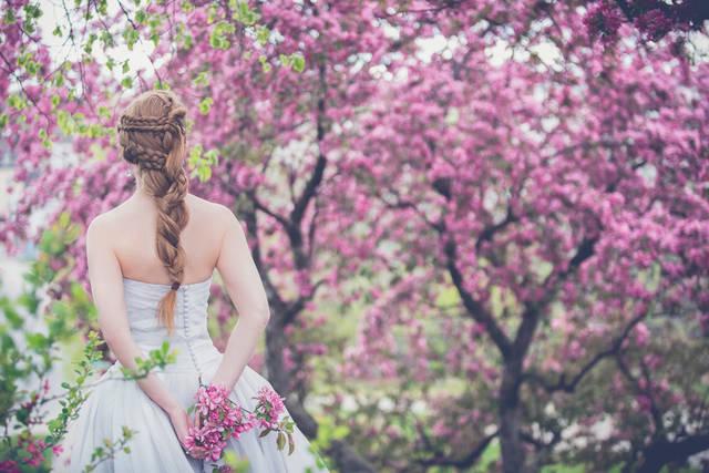 [フリー写真] ピンク色の木花と花嫁の後ろ姿でアハ体験 -  GAHAG | 著作権フリー写真・イラスト素材集 (14369)