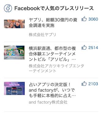 Facebookで人気のプレスリリースランキング