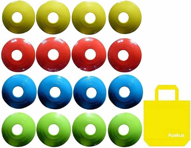 Amazon | Aoakua 今までになかった コーン フラット コンパクトな ディスク マーカーコーン 4色 収納袋セット | Aoakua | マーカーコーン (65610)