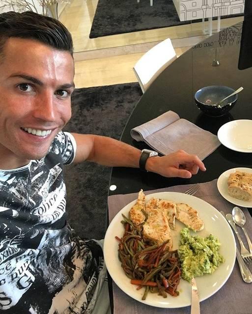 "Cristiano Ronaldo on Instagram: ""Time to eat ✌️👍"" (76131)"