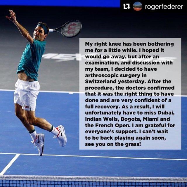 "LuvRogerForever on Instagram: ""#Repost @rogerfederer  #getwellsoon #wishingyouspeedyrecovery #roger #federer #rogerfederer #goat #greatestofalltime #alltimefavorite #love…"" (117168)"