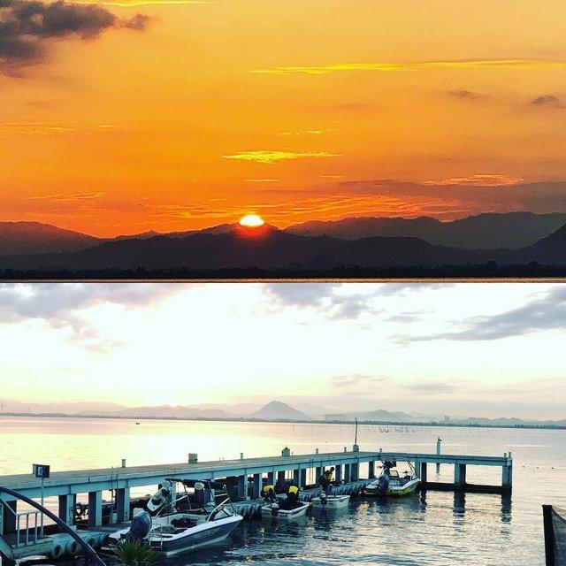 """face@nishikawa👩🏽🌾 on Instagram: """"Good morning mother lake👍#biwako #lake #lakebiwa #lakebiwajapan #イヅツマリーナ #琵琶湖face #琵琶湖レンタルボート #バス釣り #琵琶湖大好き#朝日#出航#出港"""" (123699)"""