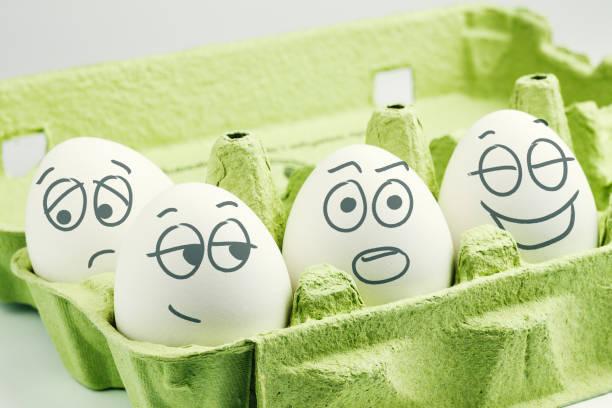 Eggbox で 4 つの卵。気質の種類。