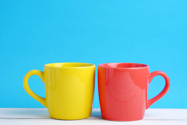 Yellow and red cup.