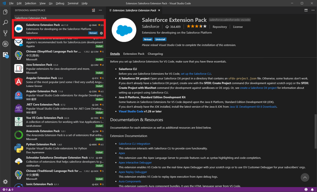 「Salesforce Extension Pack」...