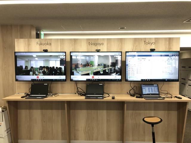 各支店の執務スペースともリアルタイムでつながっています。