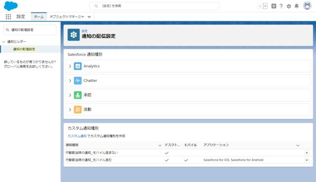 アプリケーション追加後の通知の配信設定画面