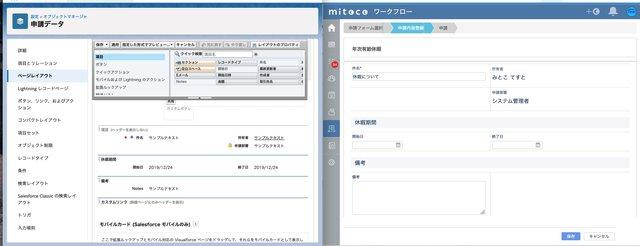 mitocoワークフローの申請フォームはSalesfo...