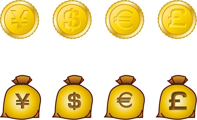 [フリーイラスト] 円、ドル、ユーロ、ポンドの金貨と袋のセットでアハ体験 -  GAHAG | 著作権フリー写真・イラスト素材集 (180)