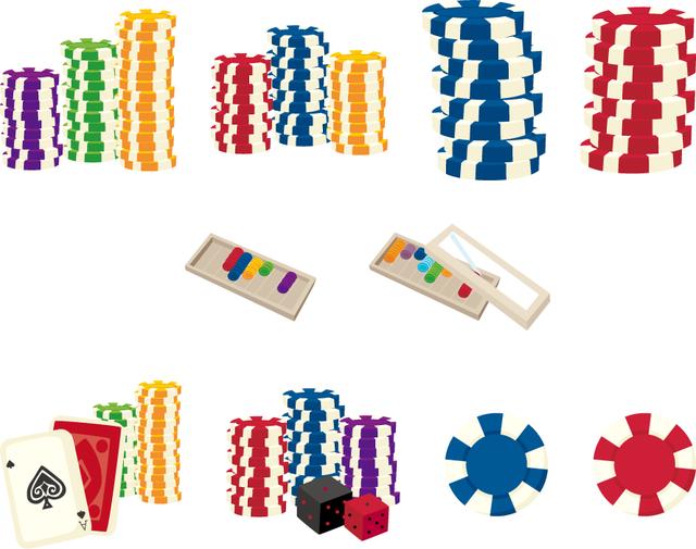 [フリーイラスト] 10種類のカジノチップとチップケースのセットでアハ体験 -  GAHAG | 著作権フリー写真・イラスト素材集 (3191)