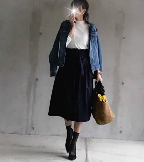 今日はデニムジャケット×スカート 大好きなカジュアルア...