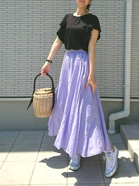 トレンドのフレアスカートにもあう!
