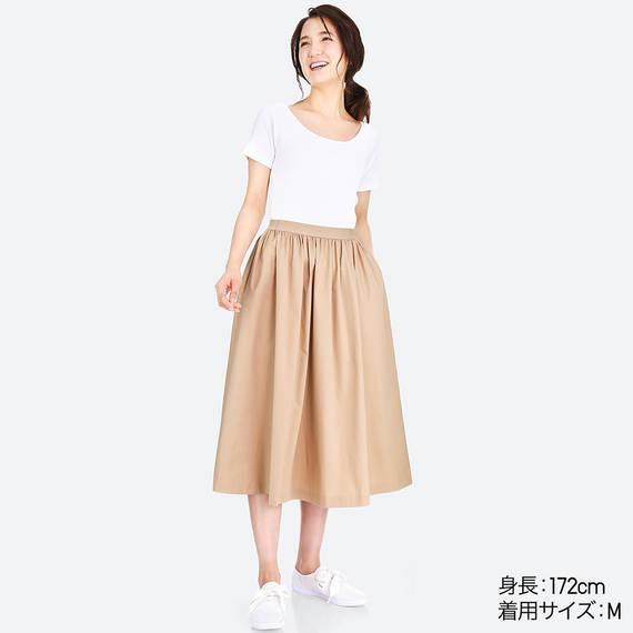 ユニクロ|ハイウエストコットンボリュームスカート|WOMEN(レディース)|公式オンラインストア(通販サイト) (5327)