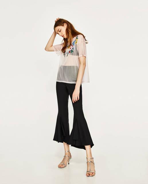 刺繍チュールTシャツ - すべてを見る-Tシャツ-レディース | ZARA 日本 (5383)