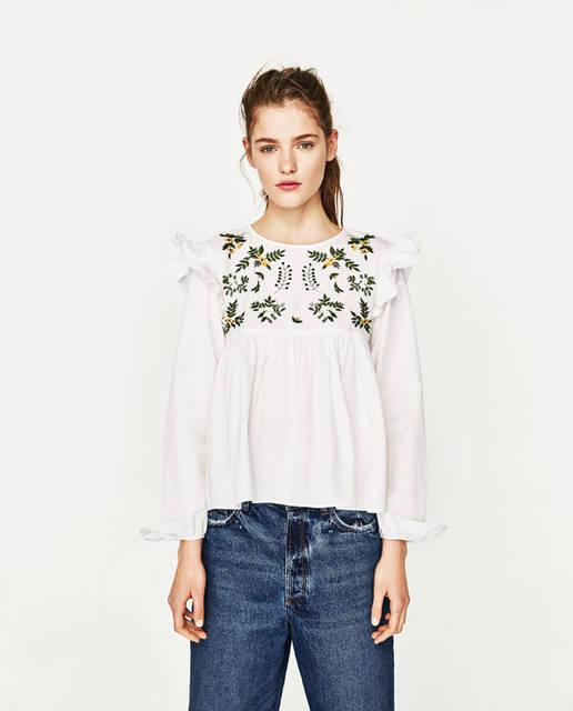 フラワー刺繍シャツ  - シャツ ブラウス-TRF | ZARA 日本 (8971)