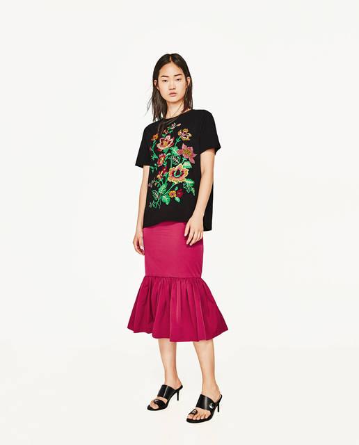 フラワー刺繍入りTシャツ  - 半袖-Tシャツ-レディース | ZARA 日本 (9739)