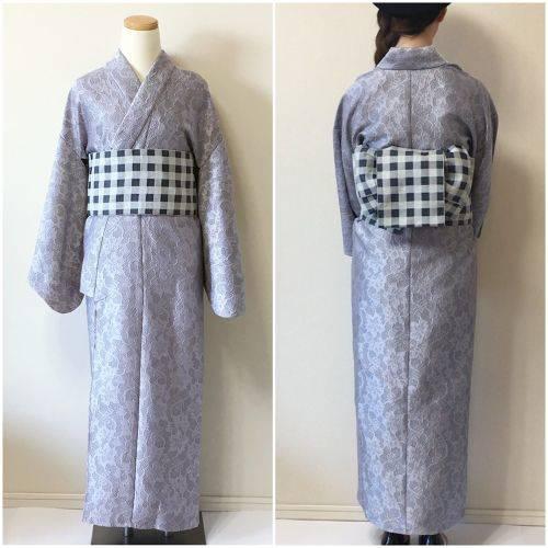 2分で着れるかんたん浴衣と作り帯のセット(ブルーグレー) | いち字きまり (11692)
