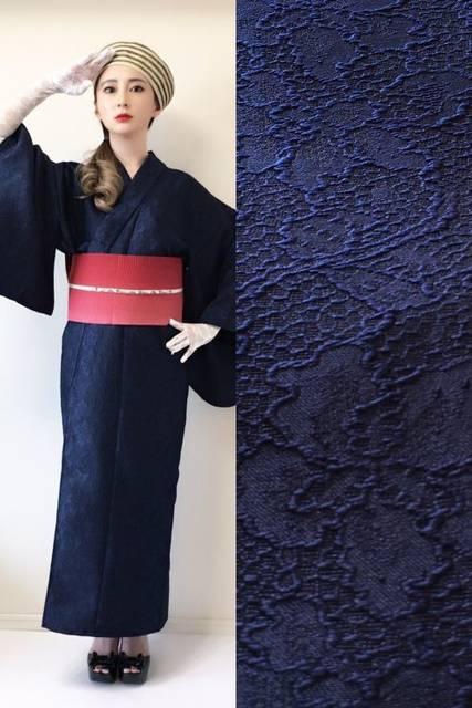 2分で着れるかんたん浴衣と作り帯のセット(ネイビー) | いち字きまり (12353)