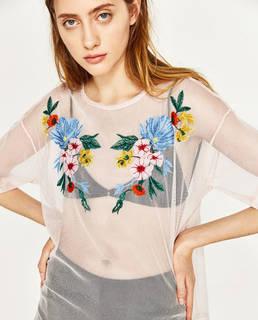 刺繍チュールTシャツ - すべてを見る-Tシャツ-レディース | ZARA 日本 (4894)