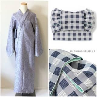 2分で着れるかんたん浴衣と作り帯のセット(ブルーグレー) | いち字きまり (11693)