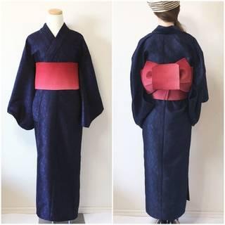 2分で着れるかんたん浴衣と作り帯のセット(ネイビー) | いち字きまり (11695)
