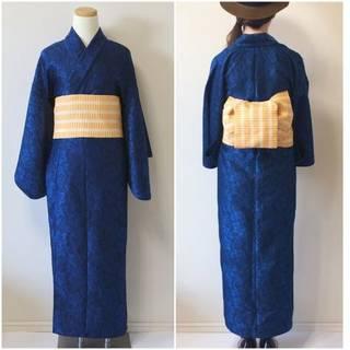 2分で着れるかんたん浴衣と作り帯のセット(ブルー) | いち字きまり (11700)