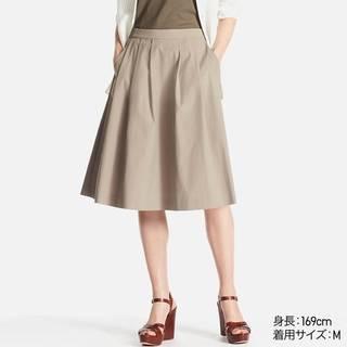 ユニクロ|ハイウエストドライストレッチタックスカート(丈標準63~65cm)|WOMEN(レディース)|公式オンラインストア(通販サイト) (14254)
