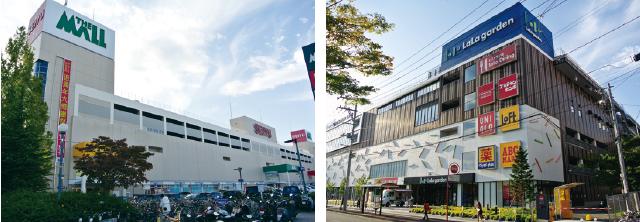 【左】ザ・モール仙台長町、【右】ララガーデン長町
