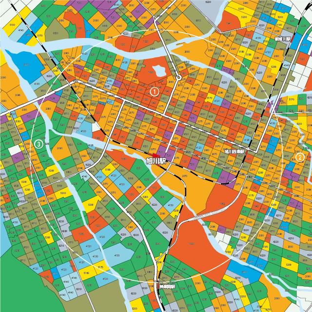 旭川駅を中心に半径2㎞をマップ化