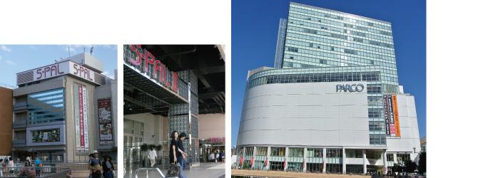 【左】駅ビルのエスパル、エスパル2(青葉区)、【右】若年層の支持が高いパルコ(青葉区)現在、新館が建設されている。