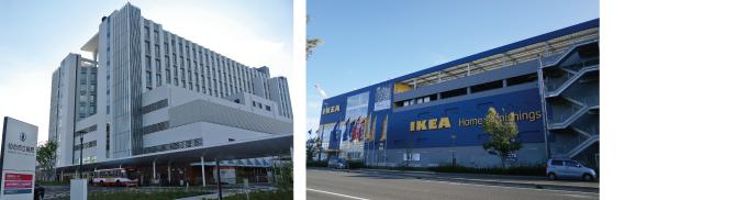 【左】2014年7月にオープンした「IKEA仙台」、【右】2014年11月に移転開院「仙台市立病院」