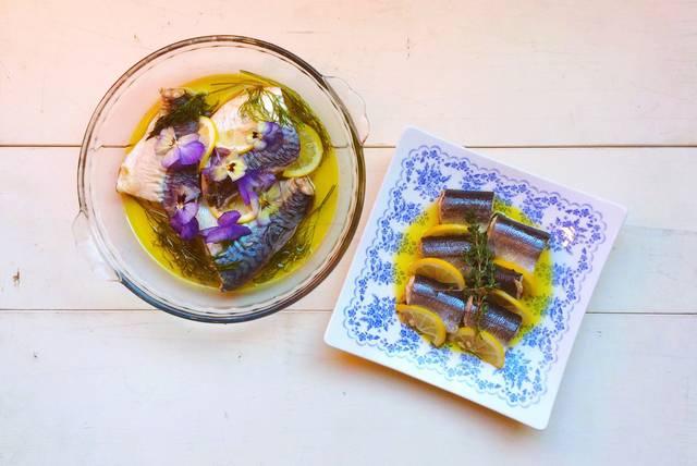 盛り付け方が違う魚のコンフィ