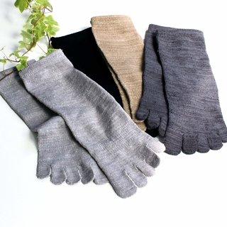 hiorie(ヒオリエ) 日本製 冷えとり靴下 内絹外綿 ミドル丈 5本指 シルクソックス 2足セット
