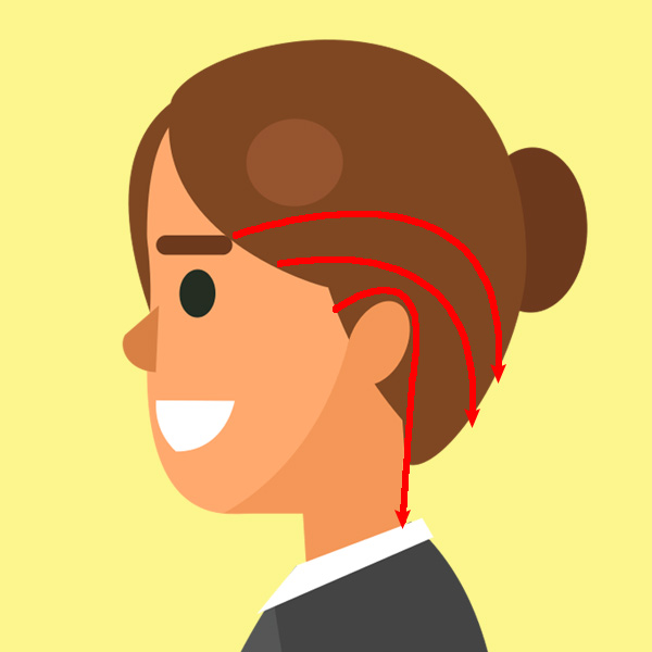 耳周りの側頭部をまんべんなく押し回す