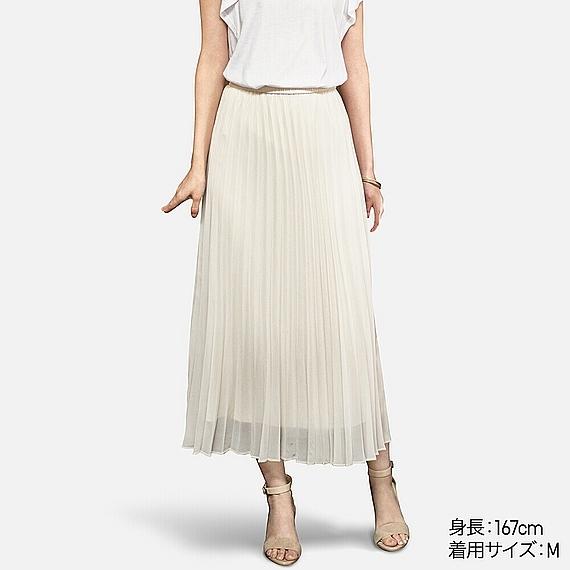 WOMEN シフォンプリーツスカート