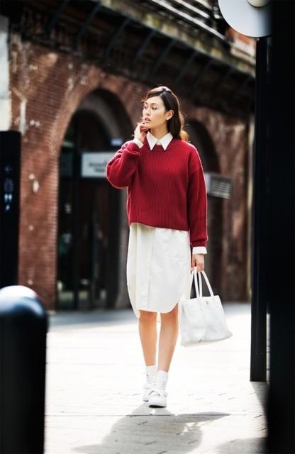 Uniqlo Uのラムクロップドクルーネックセーターのコーデ